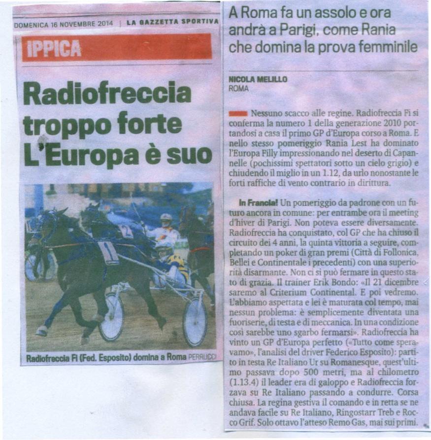 5 Radio Freccia gazzetta 16 nov 14